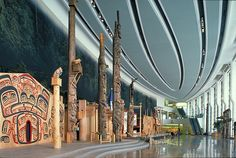 Totem poles in the Grand Hall, Canadian Museum of History, Ottawa.