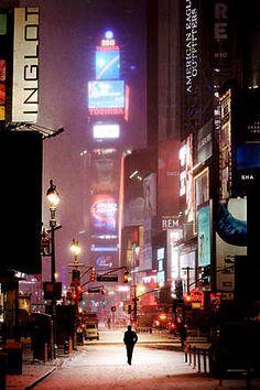 Christophe Jacrot, Man on broadway, 2011 / 2011 © www.lumas.com/ #Lumas,  Big Apple,  City,  Last prints,  Lights,  Man,  neon,  New York,  New York City,  Night,  Road,  Snow,  Times Square,  USA,  Winter,  XXL