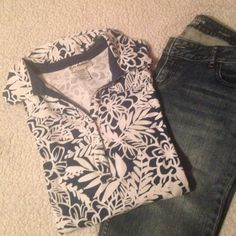 Blue and White Floral Blouse Plus This is a beautiful shirt and worn only a few times. No tears stains. Excellent condition. From smoke free and pet free home. cathy daniels Tops Tees - Long Sleeve