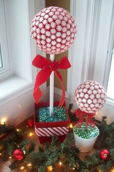 "Peppermint Tree: Spray paint a dowel desired color and insert into styrofoam ball. Glue peppermints onto styrofoam ball. Place styrofoam into desired container, and insert opposite end of the dowel into styrofoam. Cover with tinsel, moss, ""Easter basket"" grass, etc."