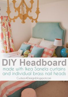 DIY headboard tutorial with individual brass nails, made from ikea curtains! Can't believe a DIY can look this good!