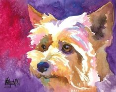 Yorkshire Terrier Art Print of Original Watercolor by dogartstudio