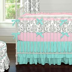 Gray and Teal Damask 3-Piece Crib Bedding Set