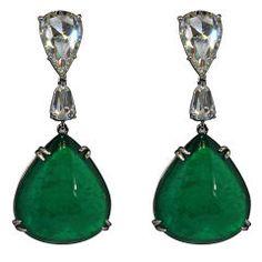 Emerald Pear Shape Drop Earrings  = 50.12 carats