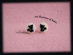 orecchini a lobo gattini su luna