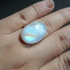 Rainbow moonstone ring - large oval moonstone ring - sterling silver