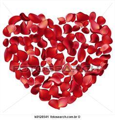 Clipart - grande, coração, feito, de, rosa vermelha, pétalas. Fotosearch - Busca de Ilustrações, Clip Art, Desenhos, Ilustrações vetoriais e video clip de animação EPS.