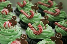 Candy Cane and Gingerbread Men Cupcakes by Pink Penguin Cakes, via Flickr