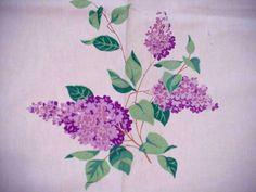 Vintage Wilendur Purple Lilacs Cottage Floral Tablecloth Spring Flowers Cutter | eBay