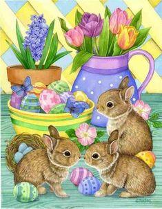 Pinzellades al món: Feliç i alegre día de Pasqua / Feliz día y alegre de Pascua / Happy Easter Day Easter Art, Easter Crafts, Easter Bunny, Easter Eggs, Happy Easter Greetings, Easter Greeting Cards, Decoupage, Happy Easter Everyone, Easter Pictures