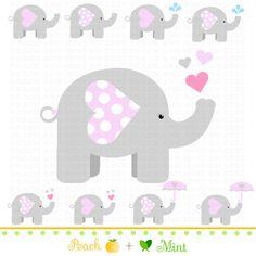 Girl Baby Elephant Clip Art Digital clipart by PeachAndMint