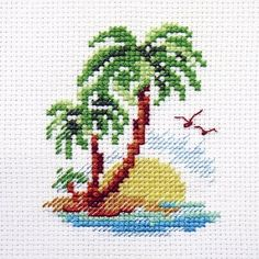 Palm Island Cross Stitch Kit Finished size Comes with a white Aida, 10 shades of threads, needle and instructions in EN, RU. Cross Stitch Sea, Cross Stitch Quotes, Small Cross Stitch, Cute Cross Stitch, Cross Stitch Cards, Beaded Cross Stitch, Cross Stitch Flowers, Modern Cross Stitch, Cross Stitch Embroidery