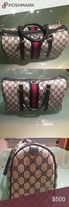 Authentic Gucci Boston Bag - don't miss this one! Excellent vintage condition circa 1982.  Zippers - exterior and interior work flawlessly.  No visible wearing except light rubbing on the corners and bottom (see photos).  What look like wrinkles or buckles in the body of the bag are lighting shadows.  A beautiful classic Gucci bag with many years of use left. Gucci Bags Satchels