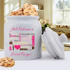 """Our Secret Recipe Personalized Ceramic Family Cookie Jar is a classic heavy, tightly sealed ceramic jar of the past with an updated style to complement any home. Dishwasher Safe. Size: 5"""" Round x 8 1/4"""" High #cookiejar #cookiejars #cookies #customcookiejar #personalizedgift #personalizedcookiejar #cookietins"""