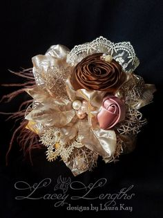 Christmas Chocolate and Mauve headband. by LaceyLengths on Etsy
