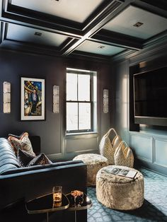 Basement Movie Room, Cozy Basement, Basement Living Rooms, Interior Wall Colors, Interior Design, Media Room Design, Moise, Cinema Room, Game Room