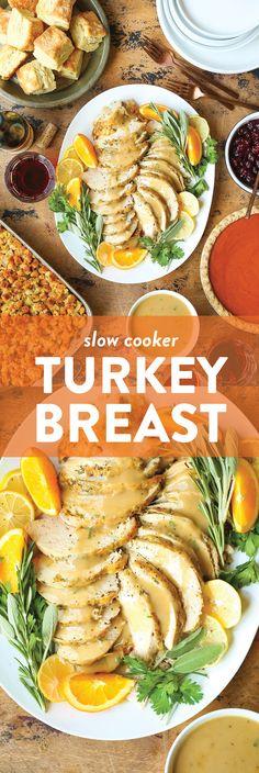 Slow Cooker Turkey Breast Recipe | Damn Delicious Slow Cooker Recipes, Crockpot Recipes, Cooking Recipes, Slow Cooking, Turkey Recipes, Chicken Recipes, Turkey Dishes, Stuffing Recipes, Sausage Recipes