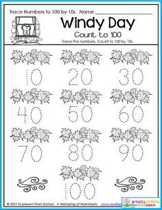 A windy day autumn worksheet. Kids trace the numbers and count to 100 by tens. Part of my set of 30 awesome November Counting Worksheets. Please check them out!