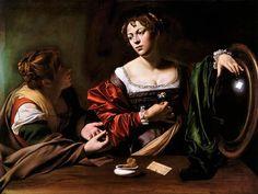 Caravaggio, Marta e Maria Maddalena, 1598 ca., olio e tempera su tela, cm 100x134,5. Detroit, Detroit Institute of Arts