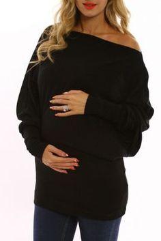PinkBlush Maternity - Black Off Shoulder Long Sleeve Maternity Shirt. Website has cute maternity clothes Cute Maternity Outfits, Stylish Maternity, Maternity Wear, Maternity Tops, Maternity Dresses, Maternity Fashion, Maternity Styles, Maternity Clothing, Nursing Clothing