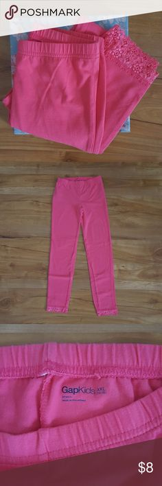 Girls Gap Leggings - Like New Never Worn Girls Gap Leggings XXL (14-16) Color is more of a coral pink Like new condition, never worn from smoke free home Gap Bottoms Leggings