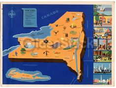 New York State Vintage Graphic Art Illustrated Map of New York 1939