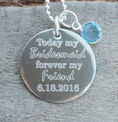 Today my Bridesmaid Personalized Necklace - Engraved