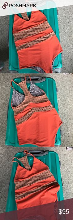 ACACIA 2015 Swimsuit London ACACIA one piece swimsuit with mesh inserts, London Style, Color: MANGO/ Topless; Size Small, worn once acacia swimwear Swim One Pieces
