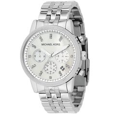 Michael Kors Women's MK5020 Mother of Pearl Chronograph Stainless Steel Watch (MK5020), Silver, Size One Size Fits All