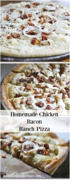 Make this delicious Homemade Chicken Bacon Ranch Pizza recipe to enjoy right at home! Saves you money and is a fun dinner or great for after school snacks! Can be frozen for later too! #Pizzadough #pizza #recipe