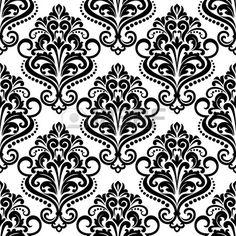 Fondo sin fisuras patrón floral blanco y negro con elementos arabescos en estilo del damasco para papel tapiz o tela de diseño Foto de archivo