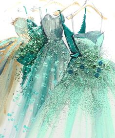 Katie Rodgers mixed media Fashion Illustration.. with glitter and sequins..