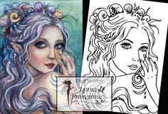 Digital Stamp, Printable, Instant download, Digi stamp, Coloring page, Art of Janna Prosvirina by Jannafairyart on Etsy You're Awesome, Digital Stamps, Great Artists, Coloring Pages, Printables, Unique Jewelry, Handmade Gifts, Illustrations, Inspiration