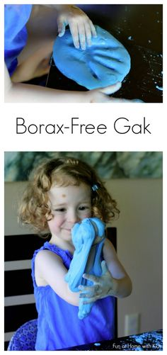 "A new recipe for a Borax-Free Gak ""Dough"" - using items you have around your house.  From Fun at Home with Kids"
