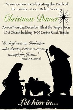 Relief Society Enrichment Night Midweek activity. Christmas dinner! Let him in…