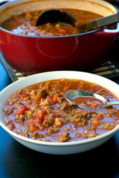 Hamburger Soup - Hearty soup with hamburger, carrots, onions, celery, tomatoes, slow cooked and the best darn soup you will ever taste!!!!