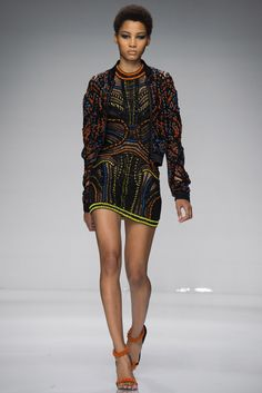 Atelier Versace Spring/Summer 2016 SS 16 - Openwork dress and jacket in black, yellow and orange