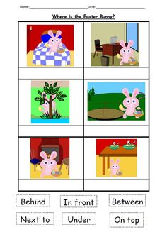 A PowerPoint focusing on teaching children positional words. The children have to describe the position of the Easter bunny. Includes a worksheet for a follow up activity to the PowerPoint.