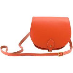 N'Damus London - Saddle Bag Orange ($120) ❤ liked on Polyvore featuring bags, handbags, shoulder bags, orange shoulder bag, leather shoulder strap handbags, saddle bags, leather saddle bags and leather purse