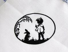 """Stickmuster - Stickdatei Scherenschnitt """" Hase + Mädche... - ein Designerstück von FeinKram bei DaWanda"""