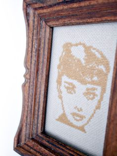 'Micro Audrey Hepburn Cross Stitch' is going up for auction at  8am Tue, Jul 24 with a starting bid of $22.