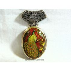 Pavo real pintado Cameo colgante plata de ley 925 piedras preciosas de... ($95) ❤ liked on Polyvore featuring peacock feather jewelry, sterling silver jewelry, gemstone jewelry, peacock jewelry and sterling silver jewellery