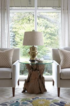 sarah richardson sarah 101 living room neutral bold schumacher betwixt pillows tree stump table