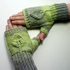 leafy mitts, the sampler shawl on this site is pretty awesome too.