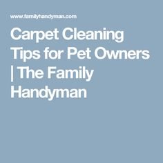 http://amzn.to/2fjw8vg Carpet Cleaning Tips for Pet Owners | The Family Handyman