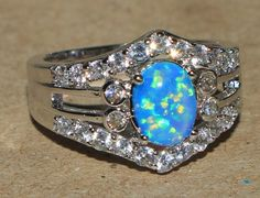 blue fire opal zircon ring gemstone silver jewelry Sz 7 chic cocktail design N6E #Cocktail
