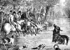 Stag hunt. Period picture of a stag hunt. The stag, urged on by the hounds, is dragged from a pond by huntsmen as the horses and riders stand by. Download high quality jpeg for just £5. Perfect for framing, logos, letterheads, and greetings cards.