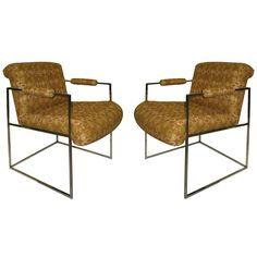 c.1960 Milo Baughman Pair Chrome Frame Armchairs-New Fabric