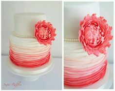 Coral wedding cake! i like the fading color on it