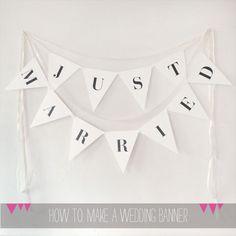Free DIY wedding banner. Downloadable, customizable, and you don't even need a glue gun. Bam. (A Printable Press)